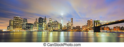 cidade, anoitecer, panorâmico,  York, Novo, vista,  Manhattan,  midtown