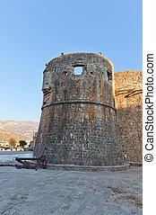 cidade, antigas, budva, montenegro, gradenigo, torre