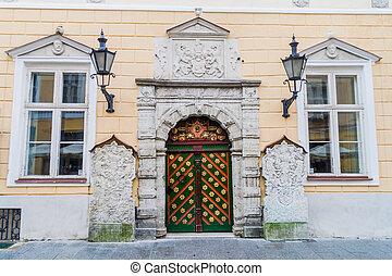 cidade, antigas, casa, entrada, tallin, decorado
