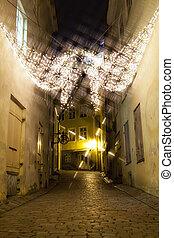 cidade, antigas, estónia, decoração, luzes, tallinn, natal