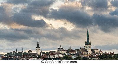 cidade, antigas, estónia, panorama, sobre, tallinn