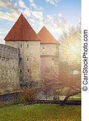 cidade, antigas, estónia, parede, tallinn, torre, fortaleza