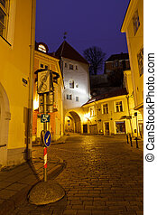 cidade, antigas, estónia, tallinn, rua, noturna