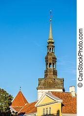 cidade, antigas, estónia, telhados, -, tallinn