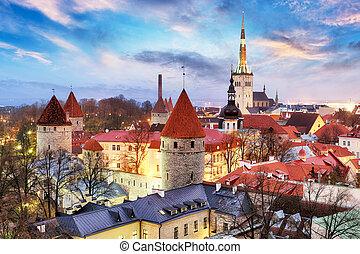cidade, antigas, estónia, toompea, tallinn, colina, amanhecer, vista