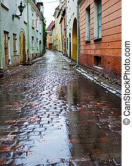 cidade, antigas, estonia., ruas, tallinn, rain.
