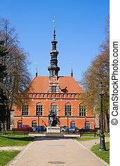 cidade, antigas,  Gdansk, corredor