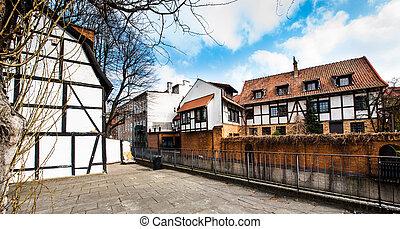 cidade, antigas,  Gdansk, histórico