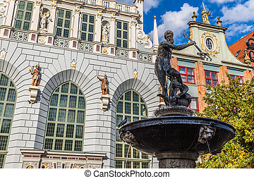 cidade, antigas,  Gdansk, Polônia, Netuno, chafariz