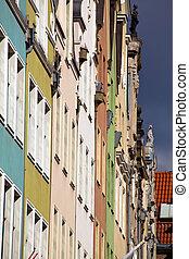 cidade, antigas, gdansk, polônia