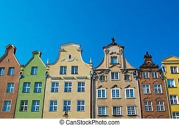 cidade, antigas, gdansk, polônia, casas, colorido