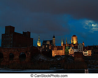 cidade, antigas, gdansk, poland.