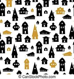cidade, antigas, illustration., pattern., houses., seamless, vetorial, fundo