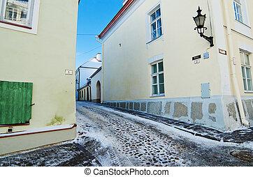 cidade, antigas, manhã, desertado, rua, tallinn, gelado