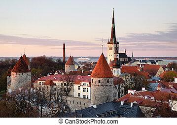 cidade, antigas, medieval, estónia, sobre, tallinn, vista