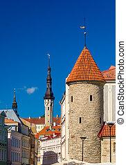cidade, antigas, medieval, estónia, -, tallinn, vista