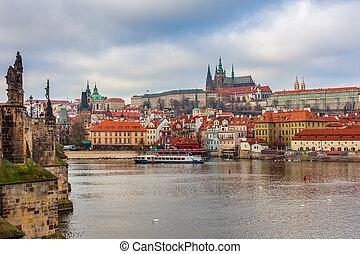 cidade, antigas, Praga