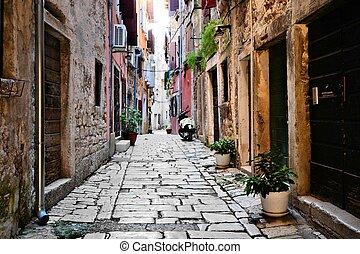 cidade, antigas, rústico, rovijn, rua, croácia