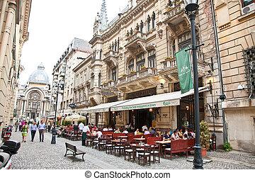 cidade, antigas, romania., visita, turistas, bucharest