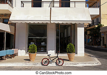 cidade, antigas, rua, estacionado, bicicleta, europeu