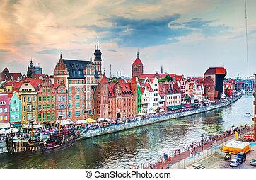 cidade, antigas, topo, rio, motlawa, vista, gdansk, polônia,...