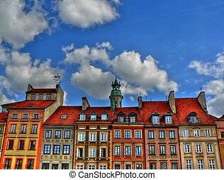 cidade, antigas, varsóvia