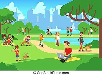 cidade, ao ar livre, relaxante, pessoas, telefones, homens, ilustração, vetorial, mulheres, esperto, park.