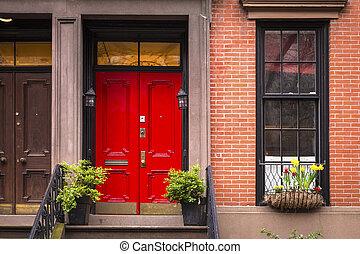 cidade, apartamento, antigas, porta, york, novo, vermelho