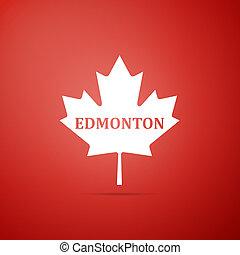 cidade, apartamento, folha, nome, canadense, edmonton, isolado, ilustração, experiência., vetorial, maple, ícone, vermelho, design.
