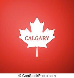 cidade, apartamento, folha, nome, canadense, isolado, ilustração, experiência., vetorial, maple, calgary, ícone, vermelho, design.