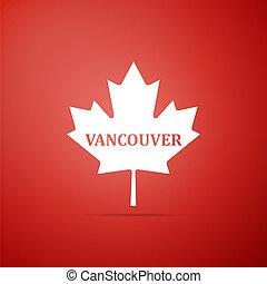 cidade, apartamento, folha, nome, canadense, isolado, ilustração, experiência., vetorial, vancouver, maple, ícone, vermelho, design.