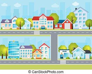 cidade, apartamento, ilustração
