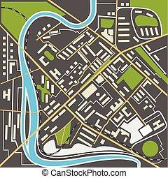 cidade, apartamento, mapa, abstratos, ilustração, desenho