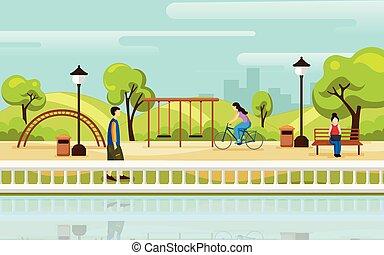 cidade, apartamento, parque, ilustração, experiência., vetorial, style., paisagem