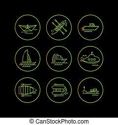 cidade, apartamento, transport., icons., llinear, vetorial, público