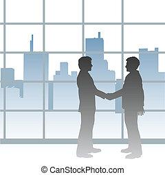 cidade, aperto mão, negócio negócio, grande, homens