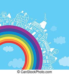 cidade, arco íris, crianças, fundo, engraçado