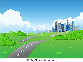 cidade, arranha-céu, fundo, natureza