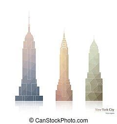cidade, arranha-céus, ícones, três, famosos, york, novo