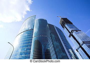 cidade, arranha-céus, centro negócio, moscou, novo