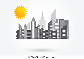 cidade, arranha-céus, skyline, dia ensolarado