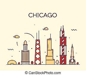 cidade, arte, chicago, skyline, vetorial, trendy, linha