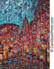 cidade, arte, quadro, abstratos, antigas, rua