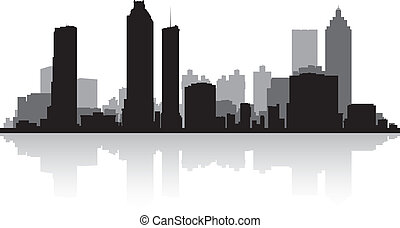 cidade, atlanta, silueta, skyline
