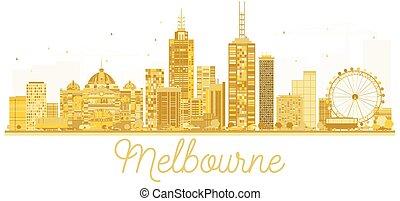 cidade, austrália, dourado, silhouette., melbourne, skyline