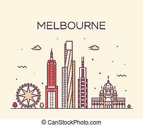 cidade, austrália, linear, grande, melbourne, skyline, vetorial