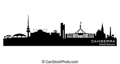 cidade, austrália, silueta, canberra, skyline, vetorial