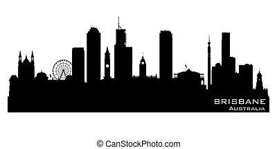 cidade, austrália, silueta, silhueta brisbane, vetorial
