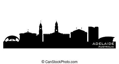 cidade, austrália, silueta, skyline, vetorial, adelaide