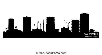 cidade, austrália, silueta, skyline, vetorial, darwin